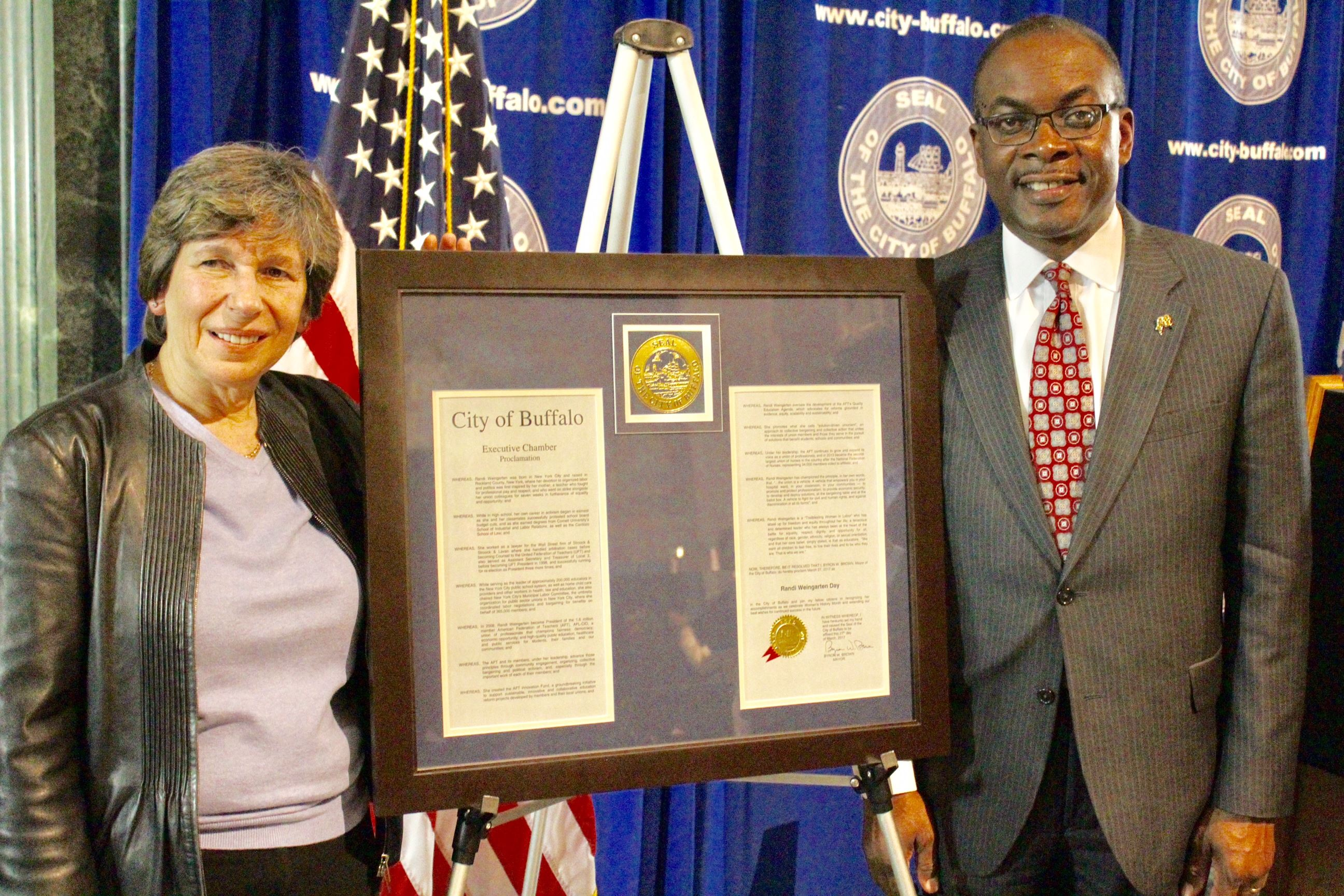 Mayor Brown Recognizes Randi Weingarten as he Concludes Woman's History Month